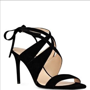 NINE WEST Ronnie black suede ankle strap sandals